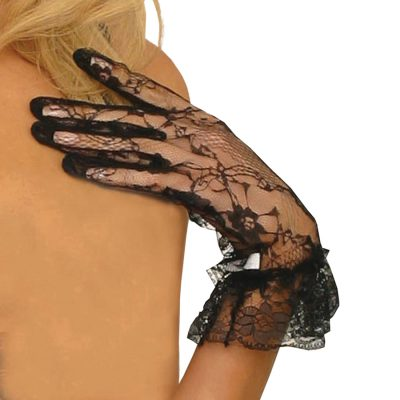 Lace wrist length gloves with ruffle trim.