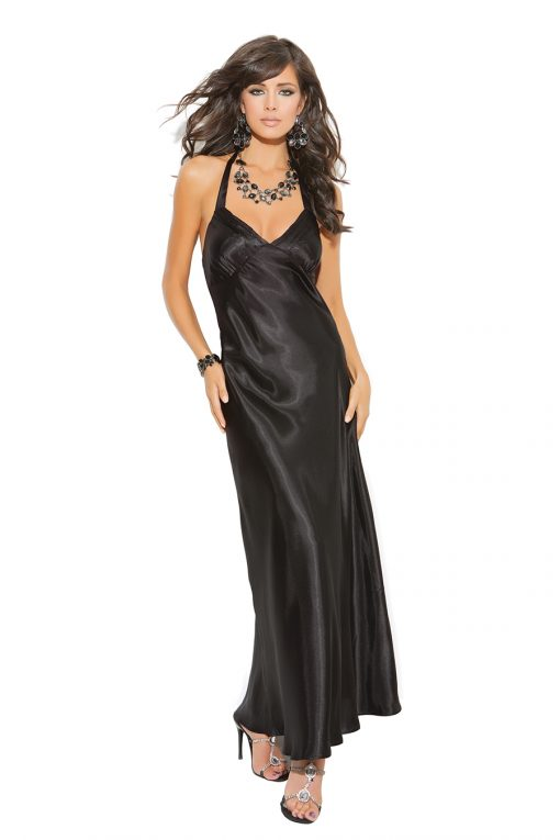 Charmeuse satin halter neck gown.