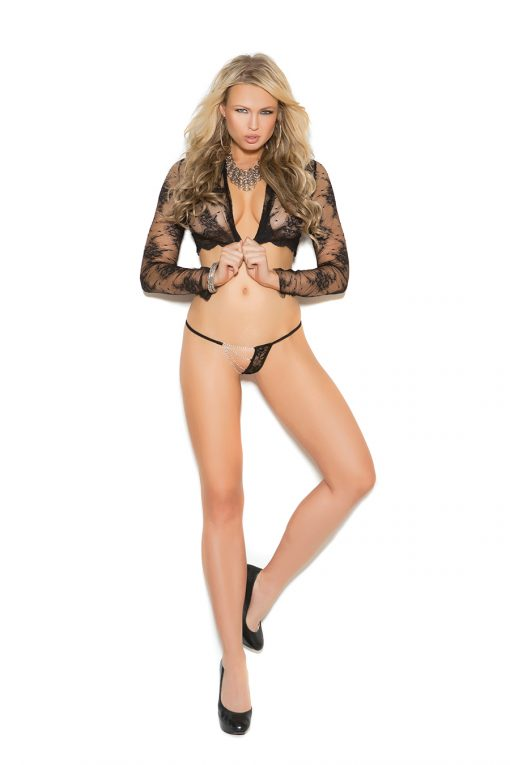 Lace g-string with chain detail.