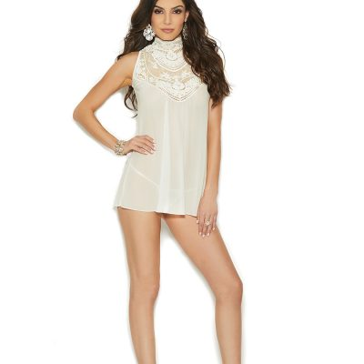 Mesh mock neck babydoll with embroidered detail