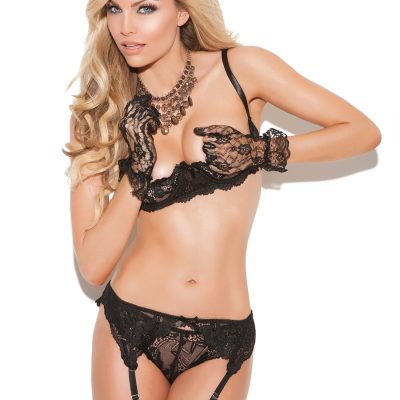 Cupless lace bra with adjustable straps and back closure. Garter belt has hook and eye back closure and adjustable garters. Matching thong included.