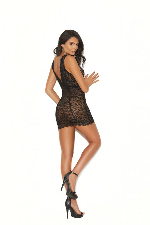double band empire waist chemise with deep V front and back and vertical striped detail.