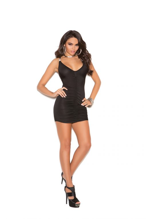 Lycra mini dress with front and back ruching.