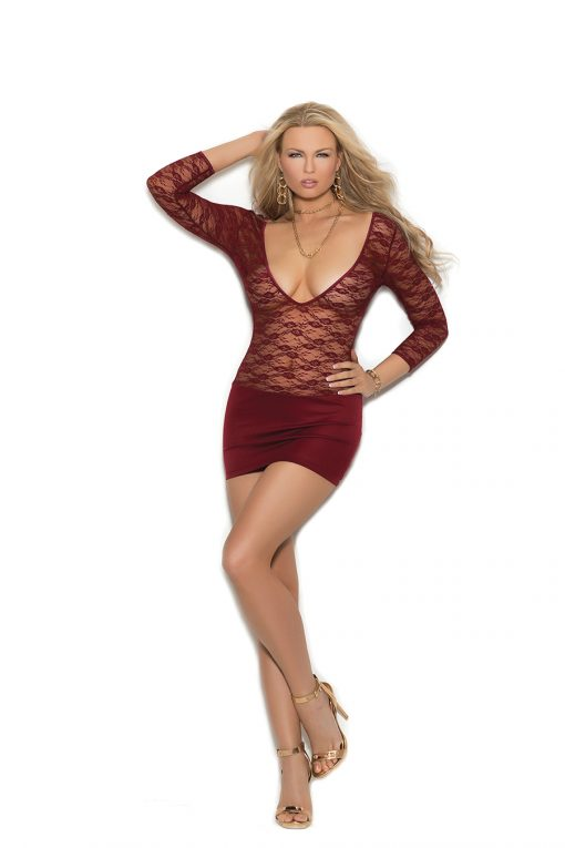 Deep V lace and lycra mini dress with 3/4 sleeves and back ruching.